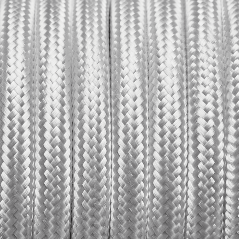 White Round Fabric Flex - 3 Core Braided Cloth Cable Lighting Wire
