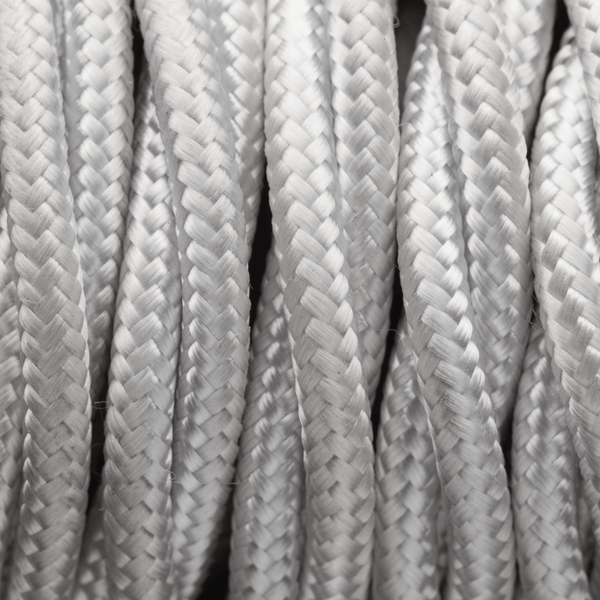 White Twisted Fabric Flex - 3 Core Braided Cloth Cable Lighting Wire
