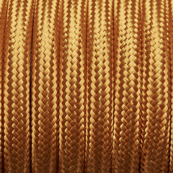 Gold Round Fabric Flex - 3 Core Braided Cloth Cable Lighting Wire
