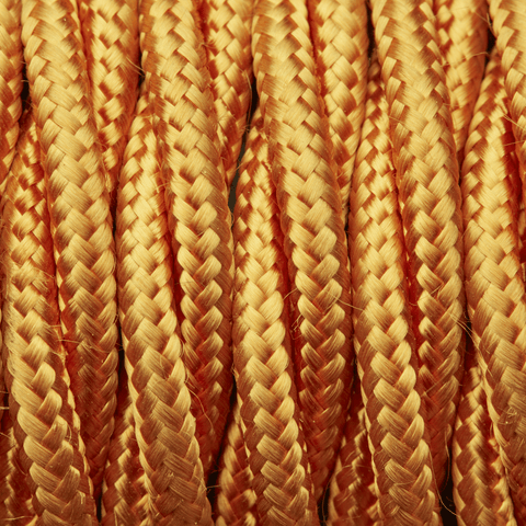 Gold Twisted Fabric Flex - 3 Core Braided Cloth Cable Lighting Wire