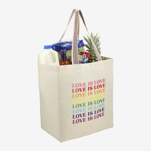 Rainbow Recycled Cotton Grocery Tote