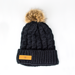 Black Pom Cable Knit Beanie