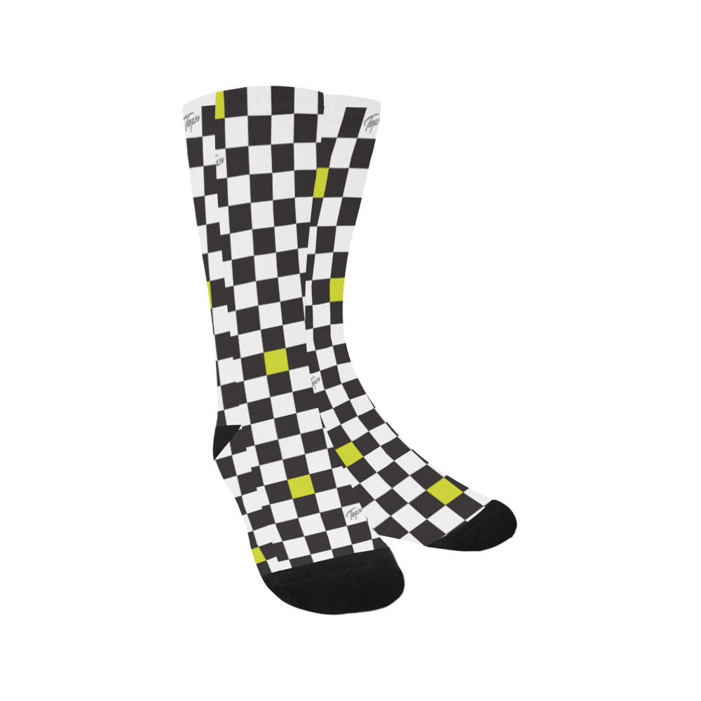 BAY MENS SOCKS - CHECKERBOARD SLIME