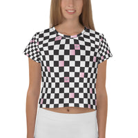 STAN CROPPED TEE - CHECKERBOARD BLUSH