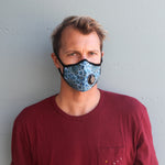 Man wearing Vogmask mask with N95 filter for pollution allergies germ smoke or dust Small