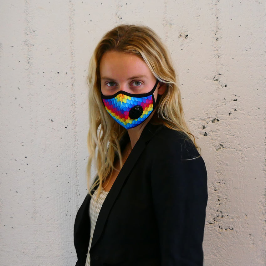 Model wearing Vogmask Parrot VMCV Particle Filtering Mask