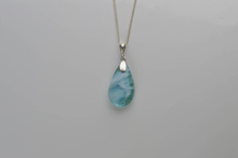 Load image into Gallery viewer, Teardrop Larimar Pendant, Soft Blue