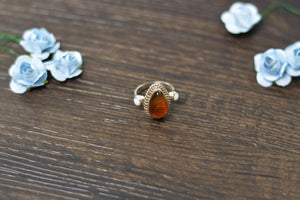 Amber Ring with Mother Of Pearl