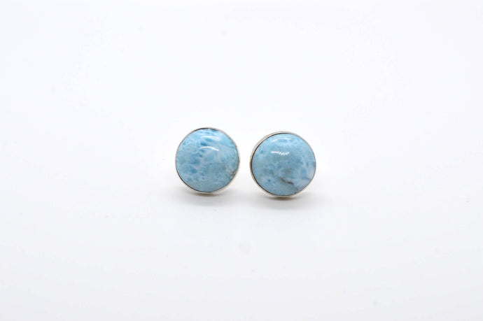 Larimar Stud Circle Earrings