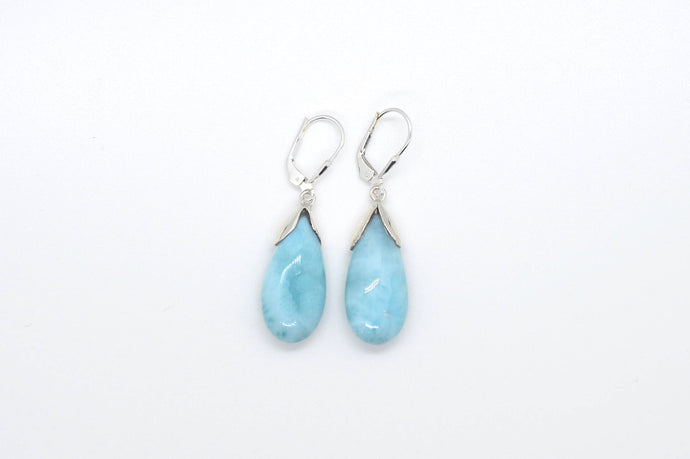 Teardrop Larimar Delicate Earrings