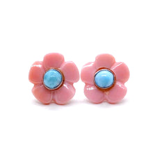 Load image into Gallery viewer, Larimar Stud Earrings, Bloom