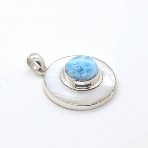 Mother Pearl Larimar Pendant, Muyal