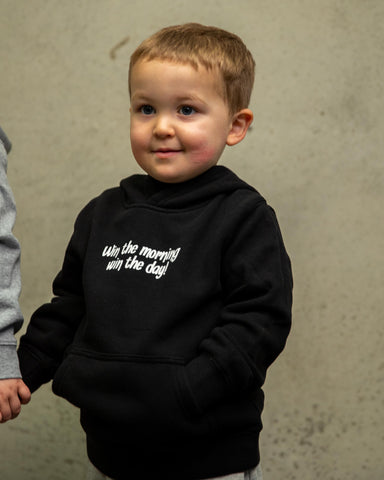 "Black Kids Hoodie - ""Win The Morning, Win The Day"""
