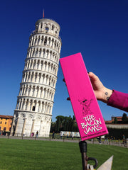 bacon jam gift box with the leaning tower of pisa in italy