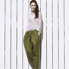 High waist pleat pants