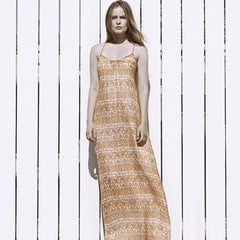 Front gather long dress
