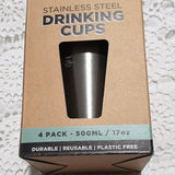 Ever Eco Stainless Drinking Cups - 500ml (4 pack)