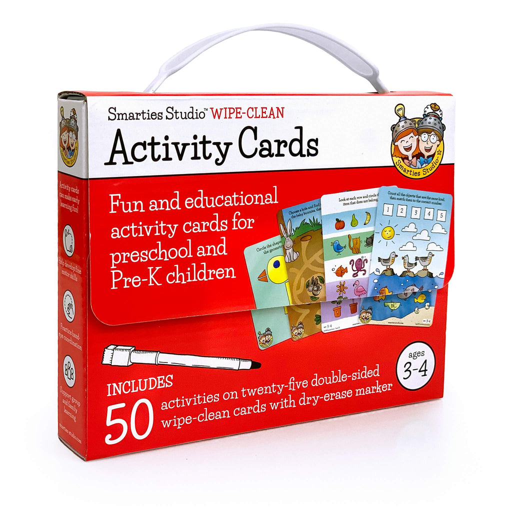 Smarties Studio Wipe Clean Activity Cards for Ages 3-4 ~ Box Front