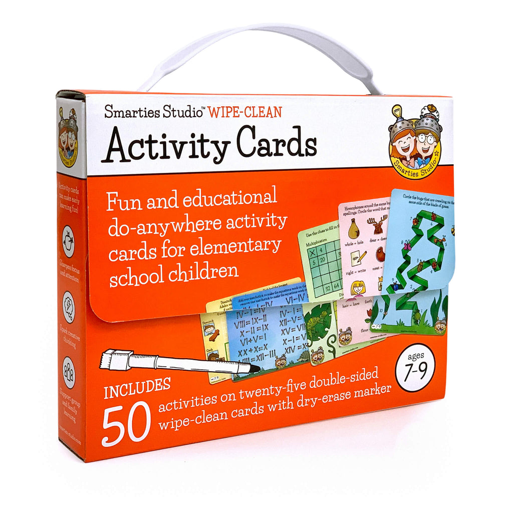 Smarties Studio Wipe Clean Activity Cards for Ages 7-9 ~ Box Front
