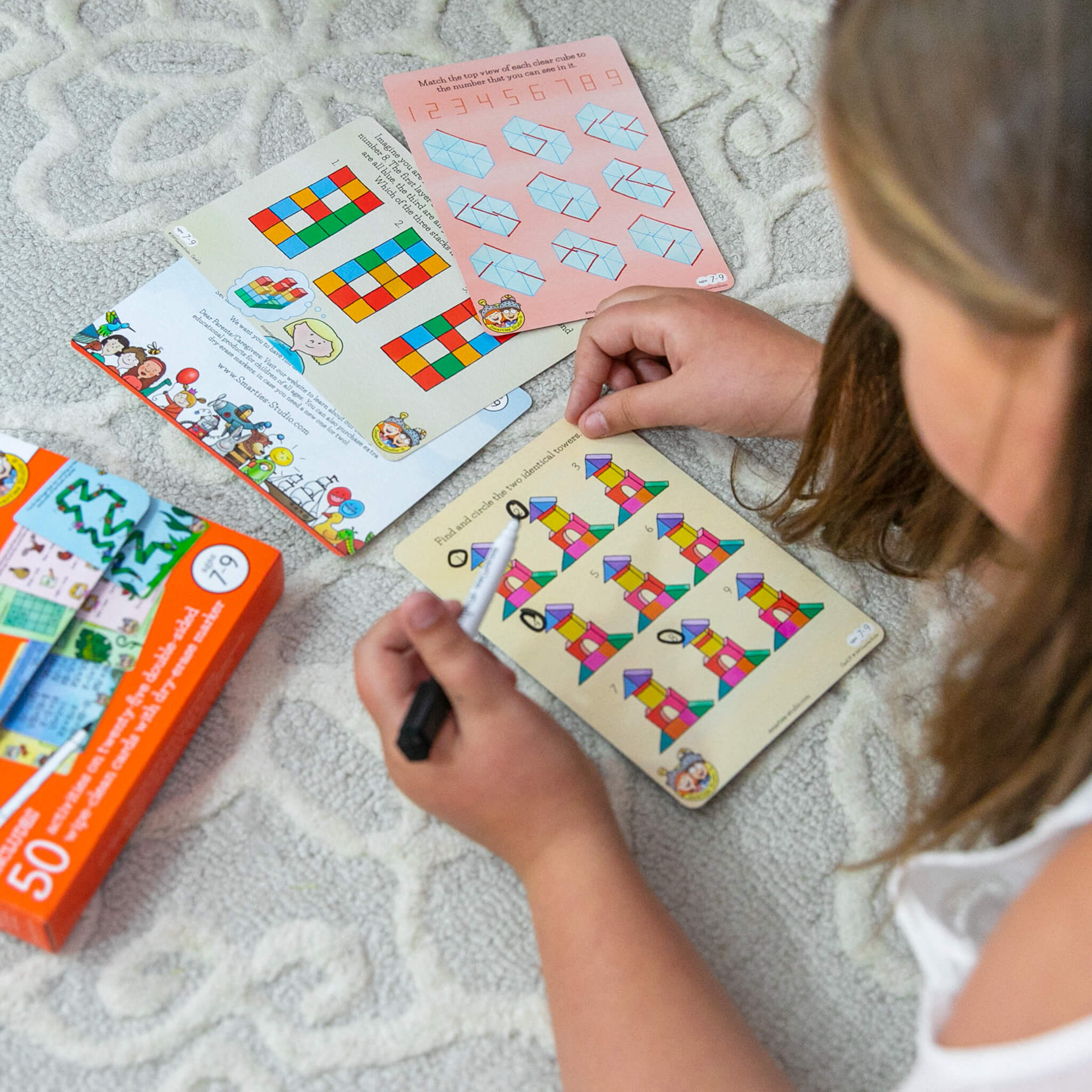 Smarties Studio Wipe Clean Activity Cards for Ages 7-9 - In Use