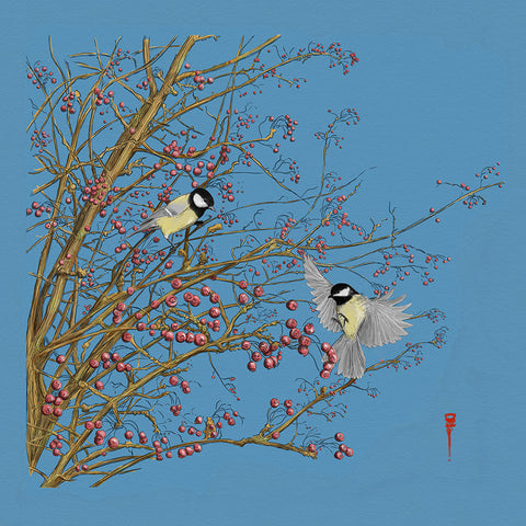 Great Tits and Hawthorn 2 by David Montagnes