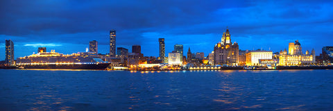 Queen Victoria across the Liverpool skyline - Blue