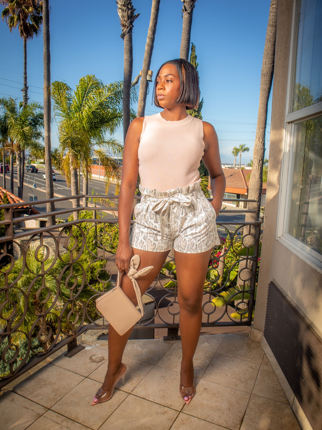 Slippery Faux Leather Paper Bag Shorts