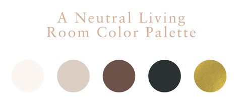 A neutral living room color palette with a cream, light brown, brown, black, and gold swatch