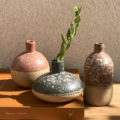 Two-tone bud vases for neutral home decor