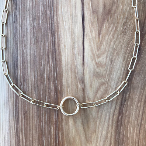 """Gold tyler choker: Electroplated gold chain with 24kt gold filled hoop. Dimensions: 14"""" + Extension"""