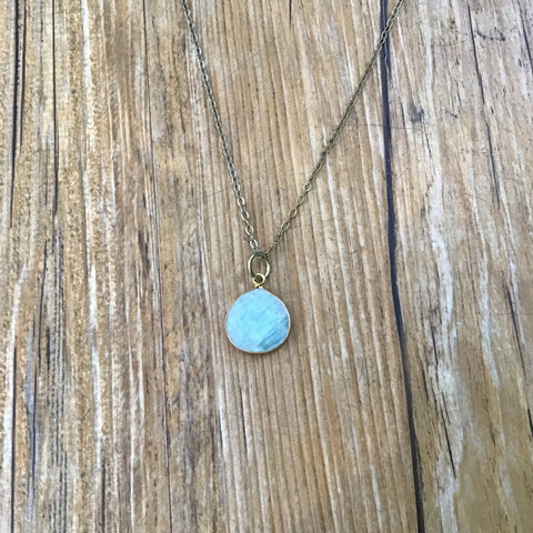 """The Lucille Pendant Necklace: Brass chain and teardrop pendant. Available in Moonstone or Amazonite. Approx. 17"""""""