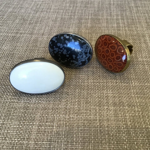 Bezel Set Rings in all 3 styles, white, blue,  and red with brass bezel.