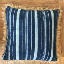 Load image into Gallery viewer, Indigo Striped Curly Pillow