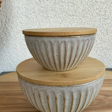 Load image into Gallery viewer, Textured Bowl with Bamboo Lid | 2 Sizes