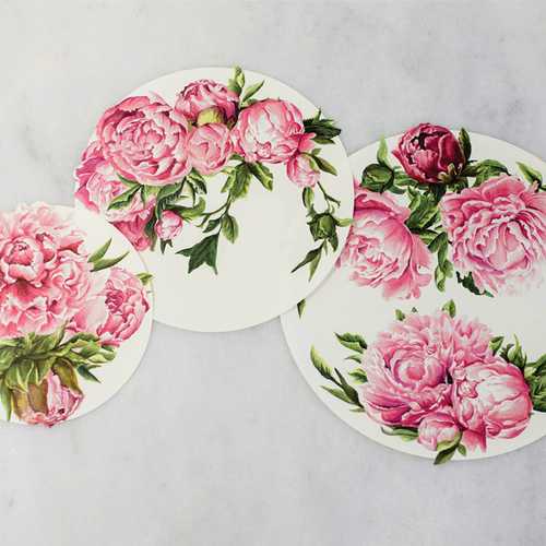 Peony Serving Papers | Set of 18