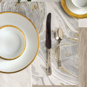 Gray & Gold Marbled Paper Placemats | Set of 30 available at Bench Home