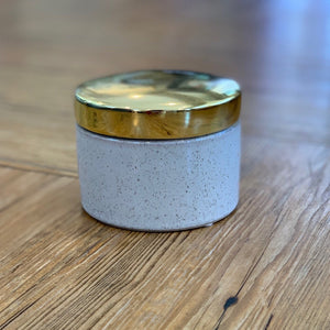 Gold + Stoneware Canister available at Bench Home