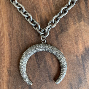 Pave Moon Necklace