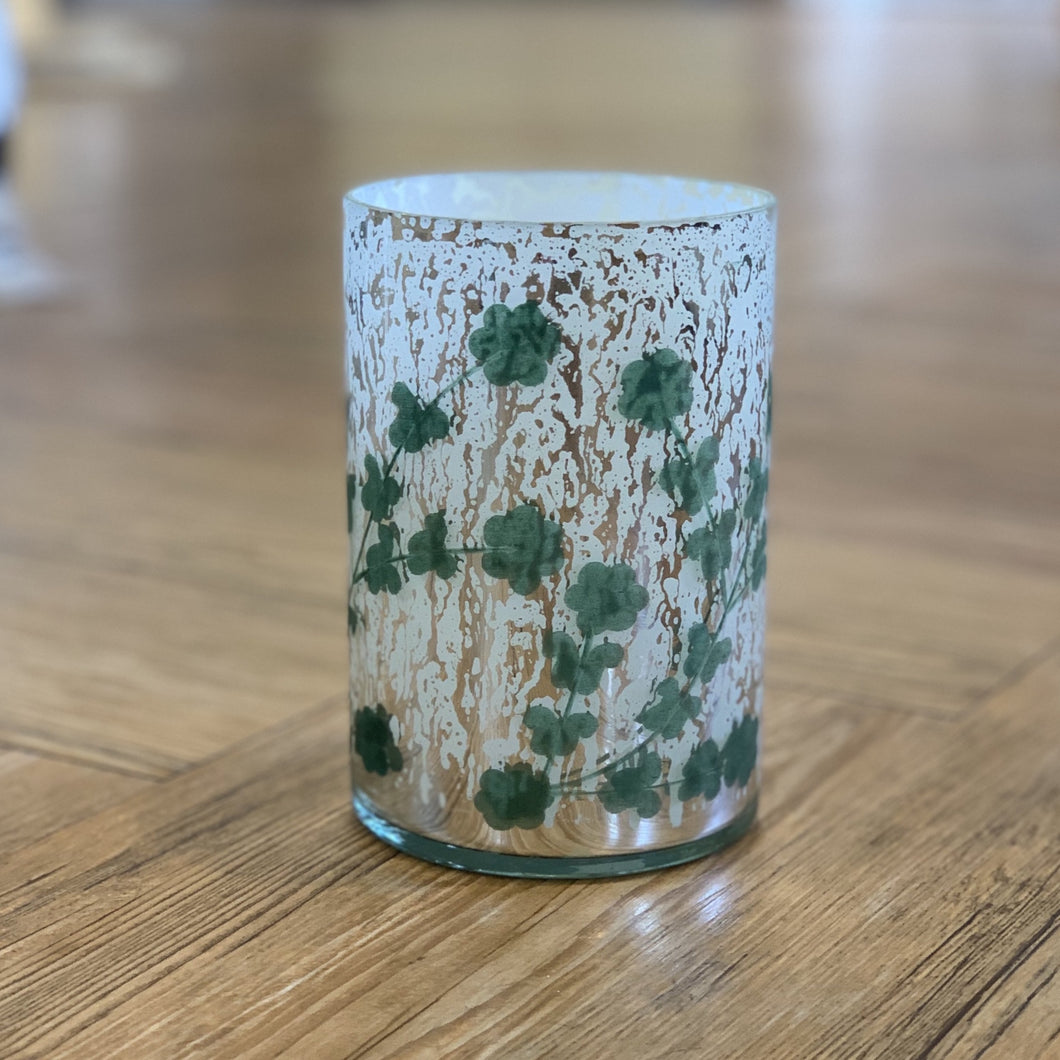 Tall Etched Mercury Glass Votive Holder
