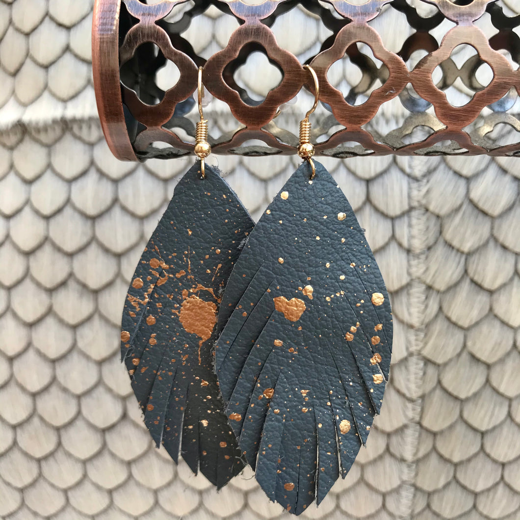 Speckled Feather Earrings | 2 Colors