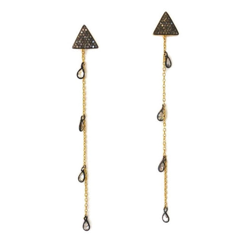Pave Triangle + Mixed Metal Drop Earring