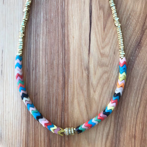 Multicolor + Gold Heshi Crystal Choker available at Bench Home