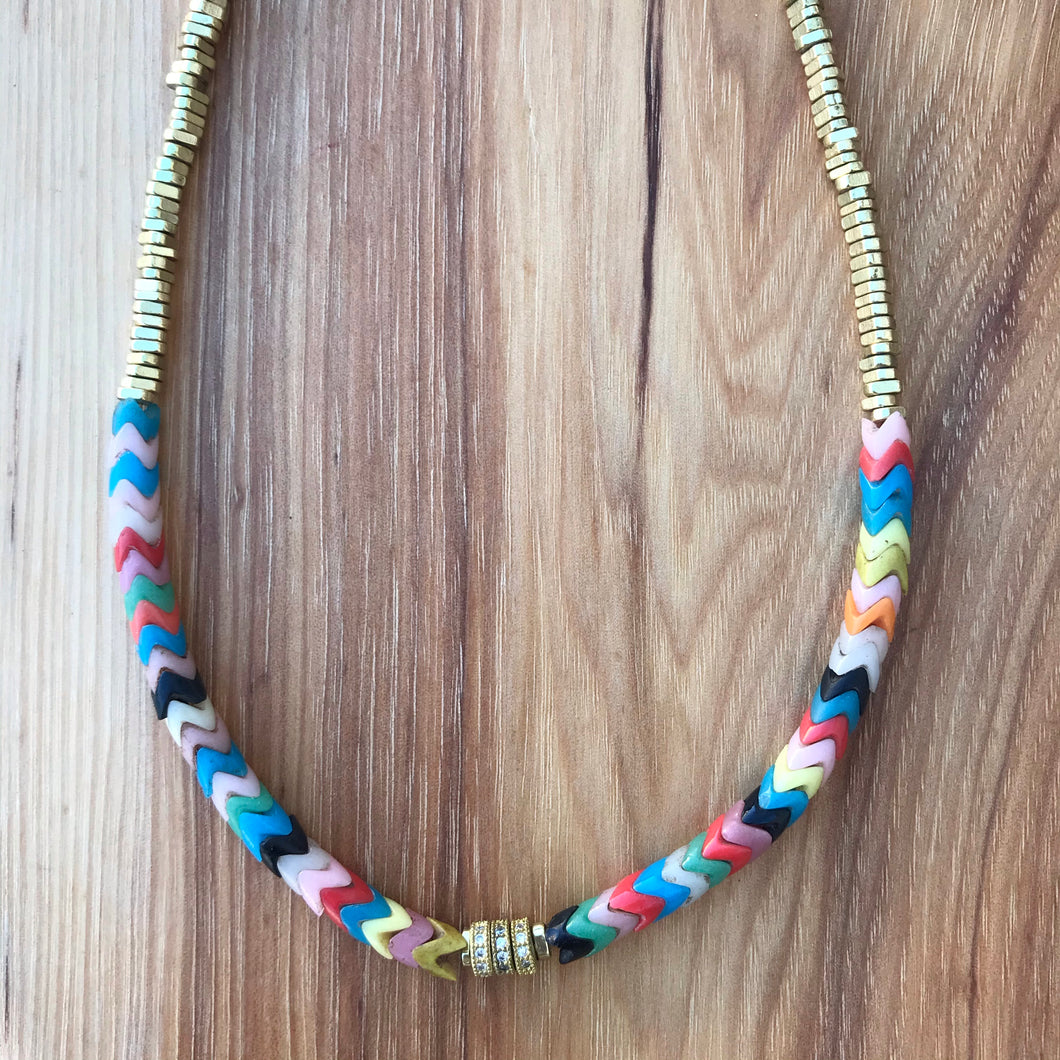 Multicolor + Gold Heshi Crystal Choker