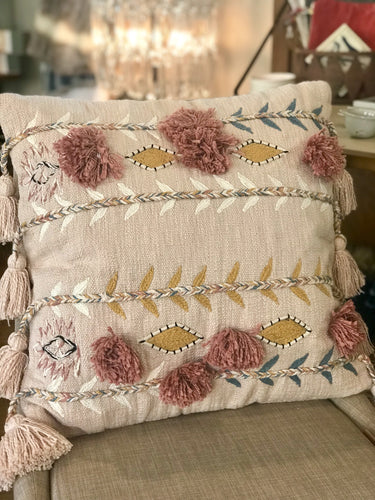 Cotton Embroidered Pillow w/ Tassels