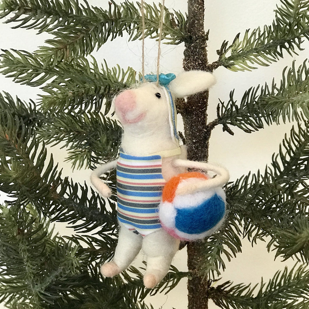 Felt Swimmer Gal Mouse Ornament