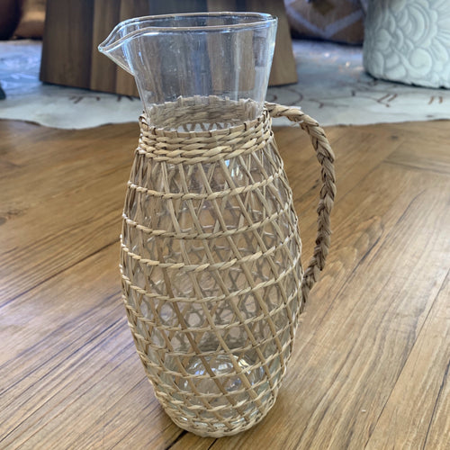 Woven Seagrass Glass Pitcher