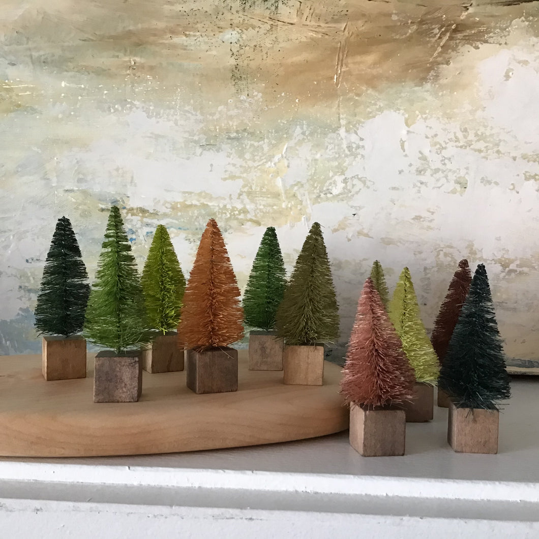 Mini Bottle Brush Trees | Set of 12