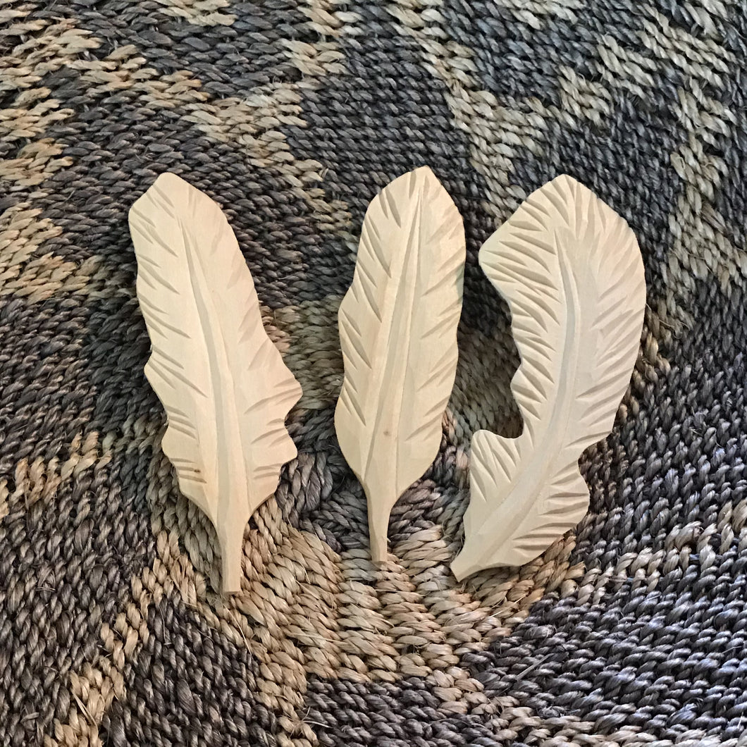 Wooden Feather Set of 3