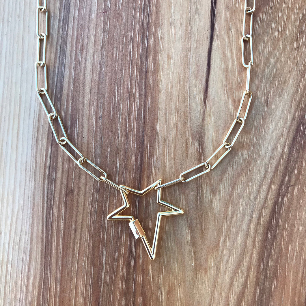 Gold Star Lock Necklace
