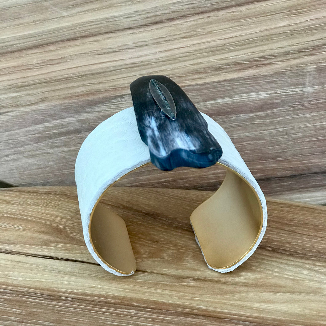 Leather + Buffalo Horn Crystal Cuff